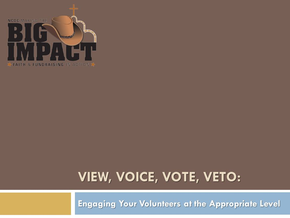 VIEW, VOICE, VOTE, VETO: Engaging Your Volunteers at the Appropriate Level