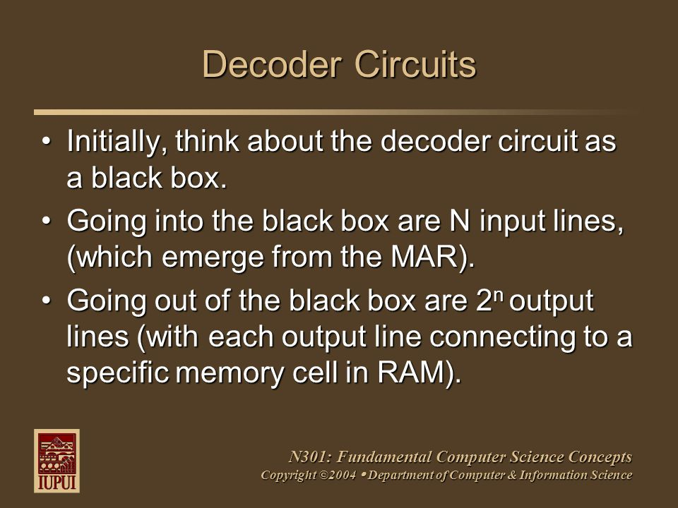 N301: Fundamental Computer Science Concepts Copyright ©2004  Department of Computer & Information Science Decoder Circuits Initially, think about the decoder circuit as a black box.Initially, think about the decoder circuit as a black box.