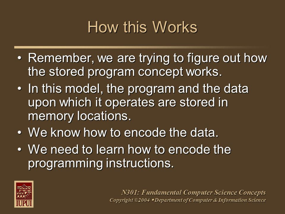 N301: Fundamental Computer Science Concepts Copyright ©2004  Department of Computer & Information Science How this Works Remember, we are trying to f