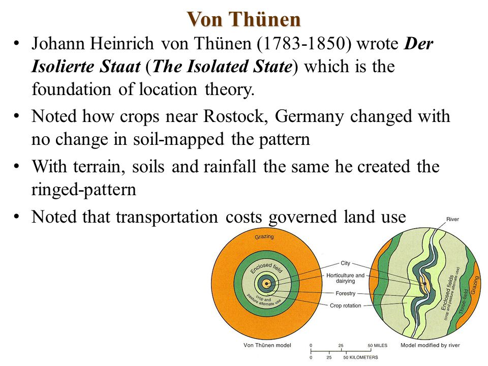 Von Thünen Johann Heinrich von Thünen (1783-1850) wrote Der Isolierte Staat (The Isolated State) which is the foundation of location theory.