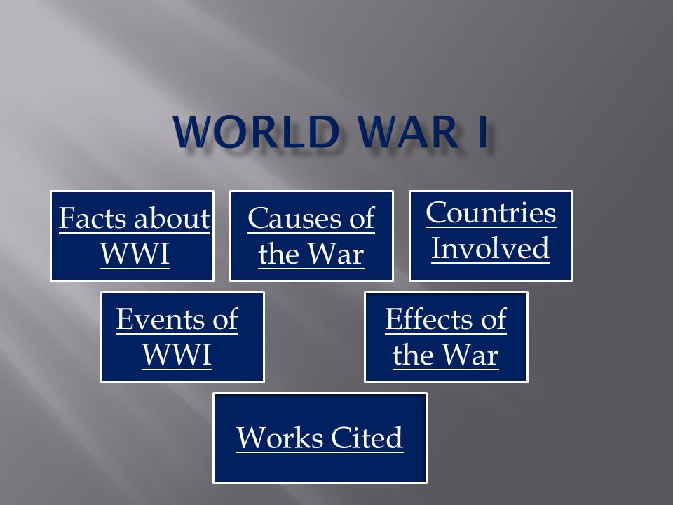 Facts about World War 1 Causes of the War World War 1 lasted from August 4, 1914 to November 11, 1918.