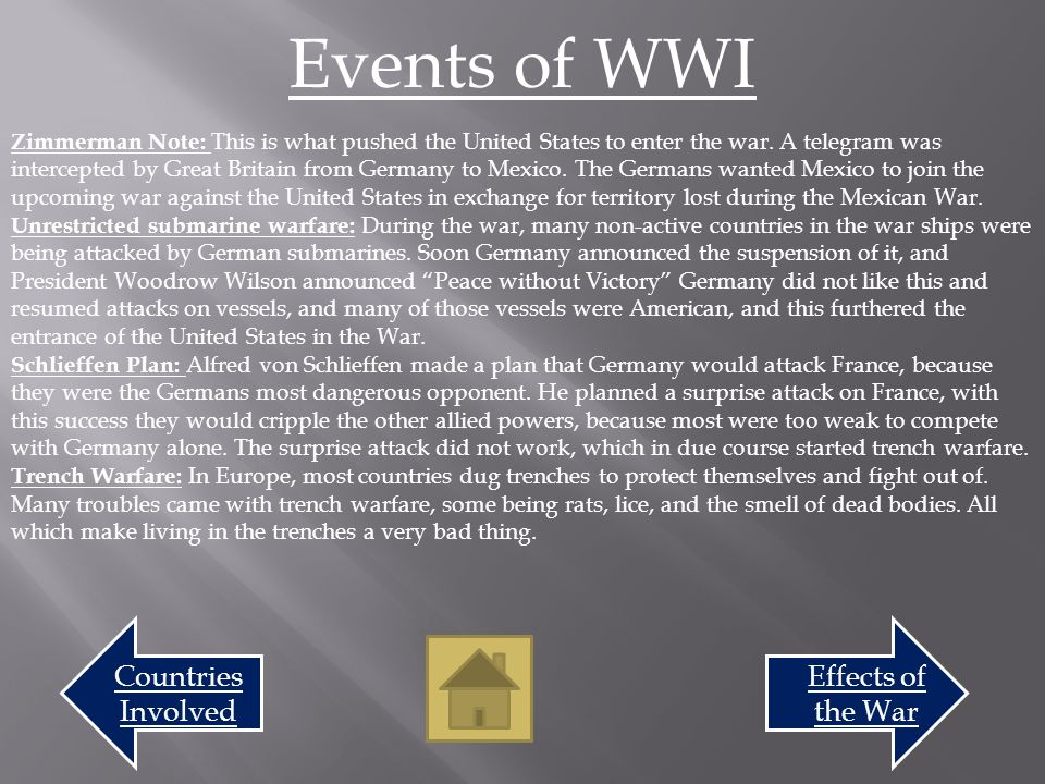 Events of the War Effects of the War Over 10 million people died during WWI Over 20 million people wounded during WWI The war ended the German Empire, the Austro-Hungarian Empire, Ottoman Empire, and the Russian Empire.
