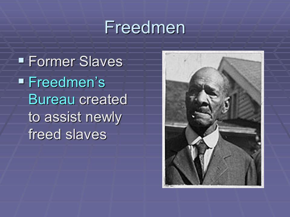 Freedmen  Former Slaves  Freedmen's Bureau created to assist newly freed slaves