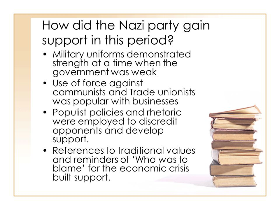 How did the Nazi party gain support in this period.