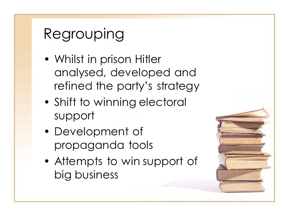 Regrouping Whilst in prison Hitler analysed, developed and refined the party's strategy Shift to winning electoral support Development of propaganda t
