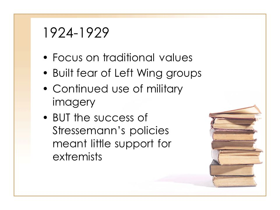 1929-1932: A Change in Fortunes Wall Street Crash leads to end of effective financial assistance from USA Unemployment rises rapidly Hyperinflation recurs Threat of Communism increases Coalition government fails to address problems successfully