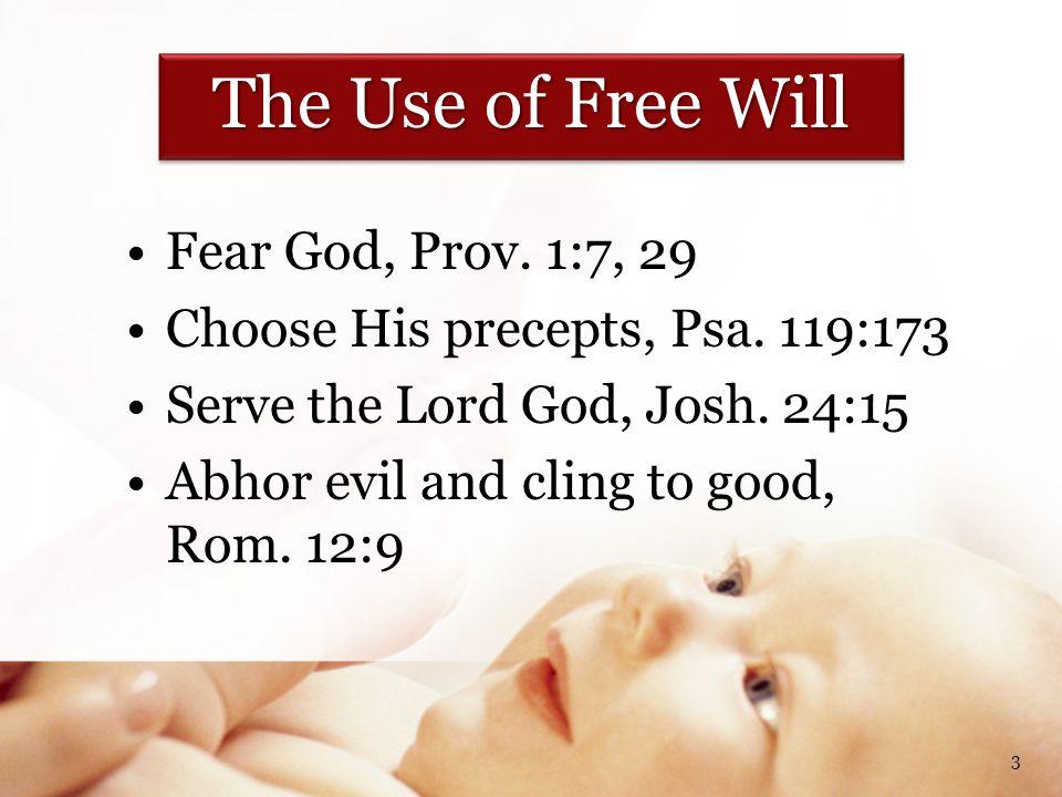 Fear God, Prov. 1:7, 29 Choose His precepts, Psa.