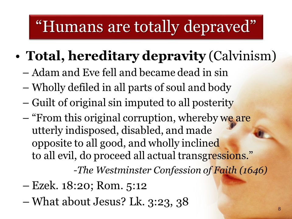 Free will for good was lost (Calvinism) – – Man, by his fall into a state of sin, hath wholly lost all ability of will to any spiritual good accompanying salvation. – – …so as a natural man, being altogether averse from that good, and dead in sin, is not able, by his own strength, to convert himself, or to prepare himself thereunto. (Ibid) Jesus and temptation, Heb.