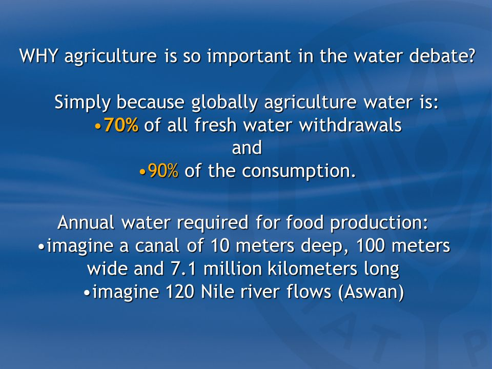 WHY agriculture is so important in the water debate.