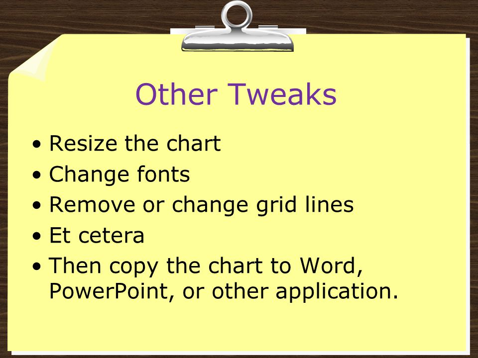 Other Tweaks Resize the chart Change fonts Remove or change grid lines Et cetera Then copy the chart to Word, PowerPoint, or other application.