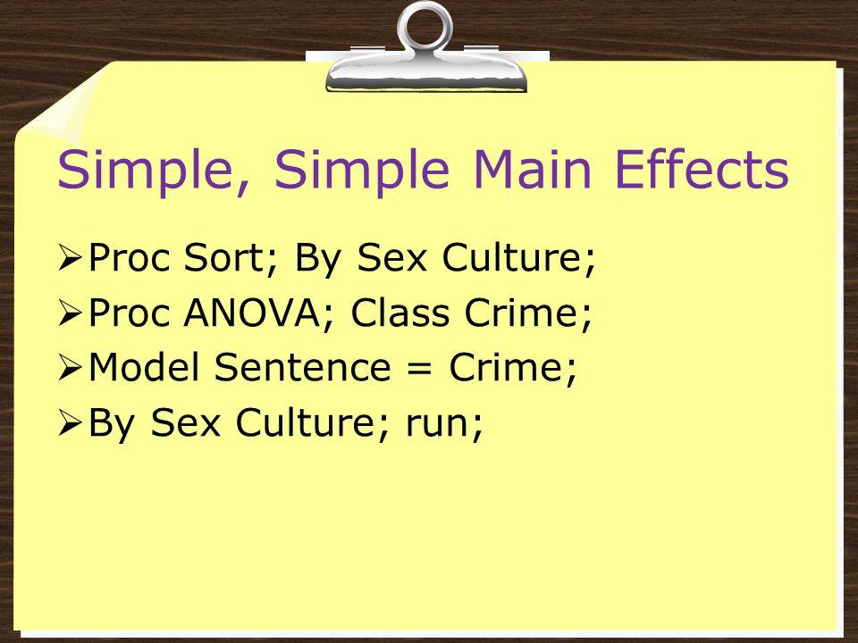Simple, Simple Main Effects  Proc Sort; By Sex Culture;  Proc ANOVA; Class Crime;  Model Sentence = Crime;  By Sex Culture; run;