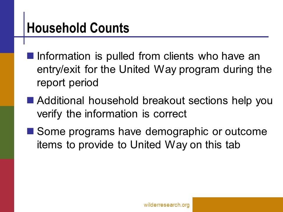 Household Counts wilderresearch.org Information is pulled from clients who have an entry/exit for the United Way program during the report period Additional household breakout sections help you verify the information is correct Some programs have demographic or outcome items to provide to United Way on this tab