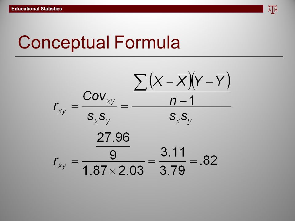Educational Statistics Conceptual Formula