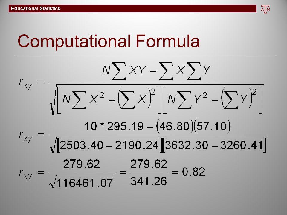 Educational Statistics Computational Formula