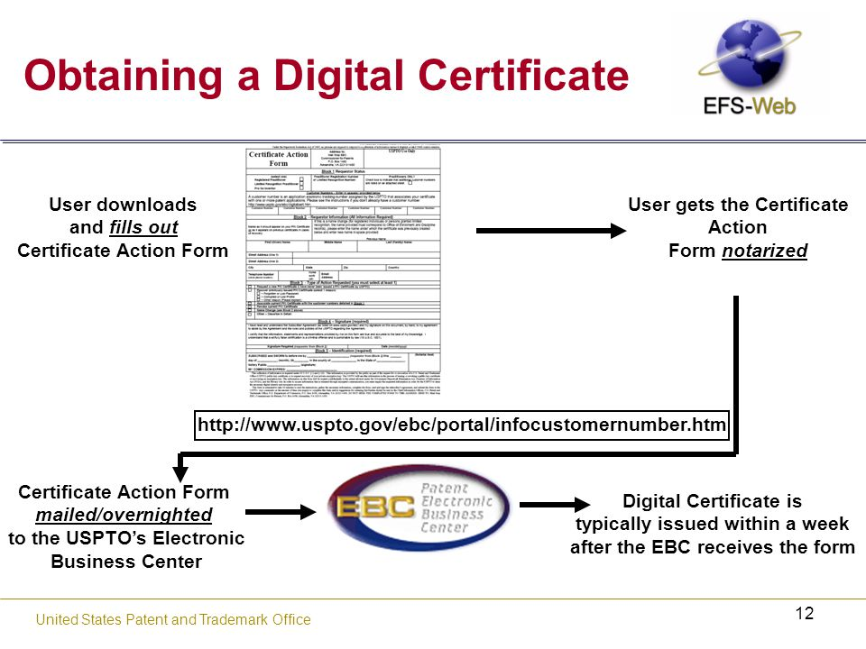 12 United States Patent and Trademark Office Obtaining a Digital Certificate User downloads and fills out Certificate Action Form User gets the Certificate Action Form notarized Certificate Action Form mailed/overnighted to the USPTO's Electronic Business Center Digital Certificate is typically issued within a week after the EBC receives the form