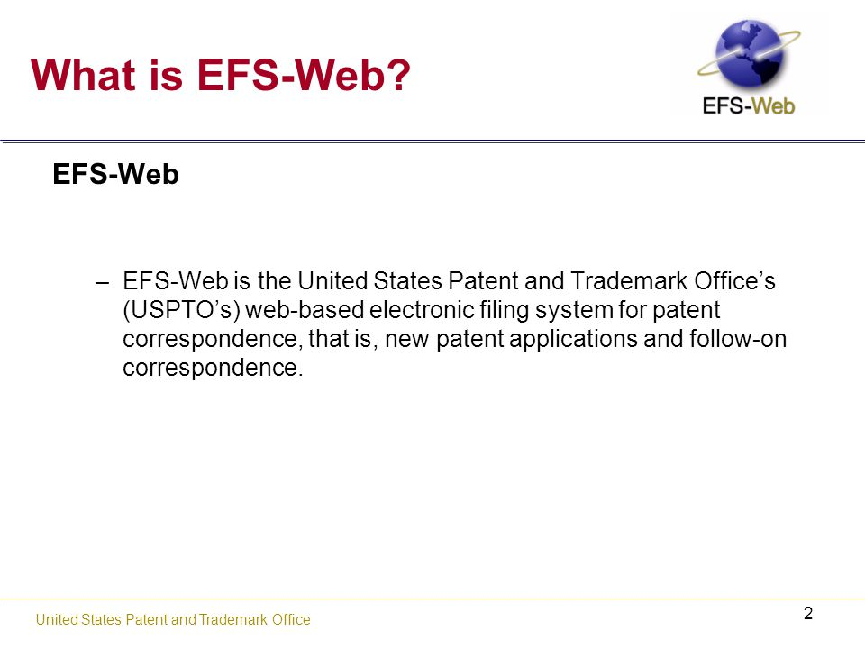 23 United States Patent and Trademark Office PDF Fillable Form Features Save form electronically with data embedded Print forms with data entered by the user PDF Fillable Form Import data in XML format from multiple sources Export data in XML format to document management systems and other databases Re-open the saved form to modify existing data Dynamic capability to add data Enhanced to interface with EFS-Web Adobe Reader (Version 7.0.8, 7.0.9, 8.1.1, 8.1.2, or 9.0) required.
