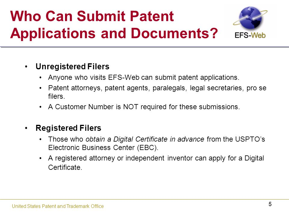 66 USPTO's new web-based patent application and document submission solution EFS-Web Indexing