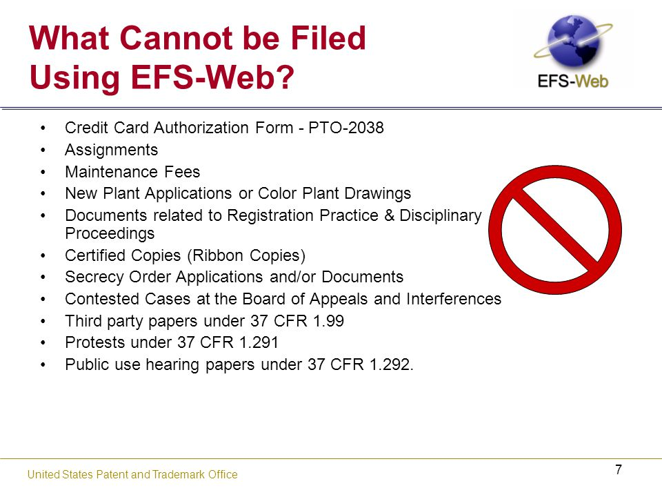 38 United States Patent and Trademark Office Access EFS-Web Portal