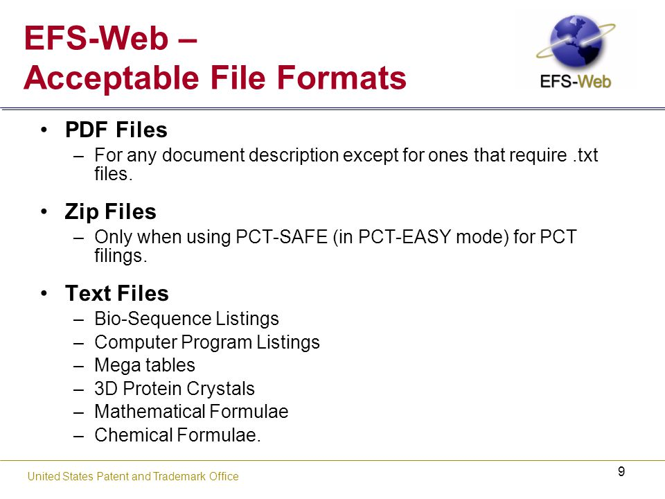 20 United States Patent and Trademark Office PDF File Requirements Security Features No password-protected or encrypted PDF files are permitted –EFS-Web PKI infrastructure will handle encryption.