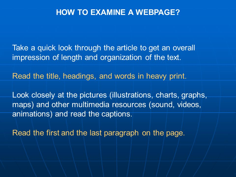 HOW TO EXAMINE A WEBPAGE.