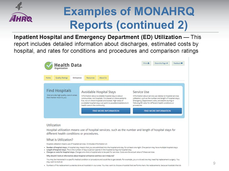 Examples of MONAHRQ Reports (continued 2) Inpatient Hospital and Emergency Department (ED) Utilization — This report includes detailed information about discharges, estimated costs by hospital, and rates for conditions and procedures and comparison ratings 9