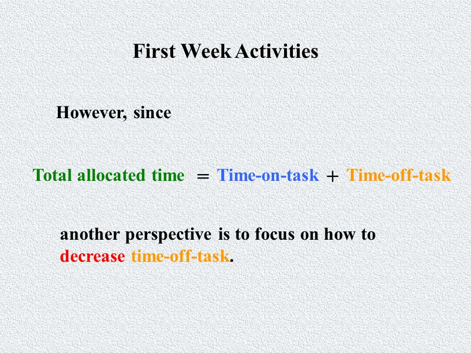 First Week Activities However, since Total allocated time = Time-on-taskTime-off-task another perspective is to focus on how to decrease time-off-task.