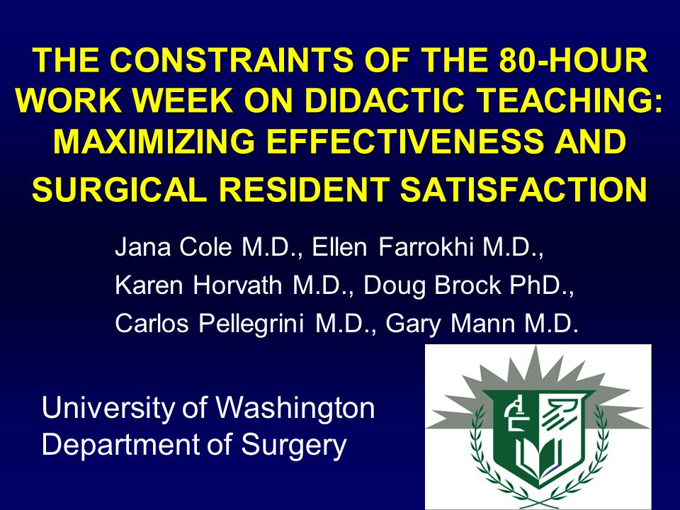 Introduction Service demands of the 80 hour work week can lead to erosion of time for didactic teaching.