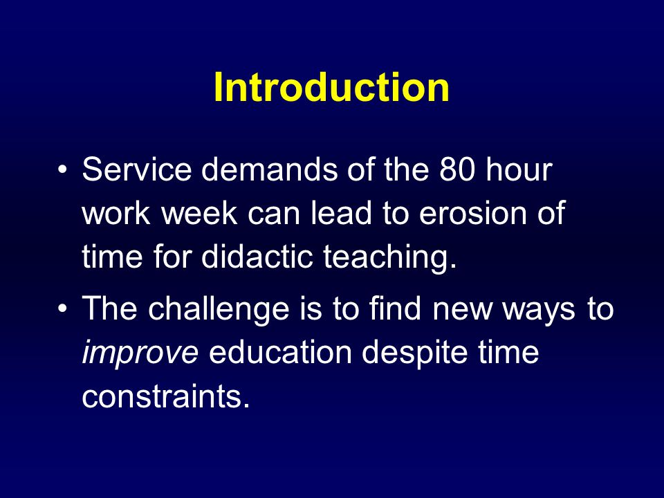 Introduction Resident dissatisfaction led us to critically evaluate and change our surgical didactic teaching curriculum.