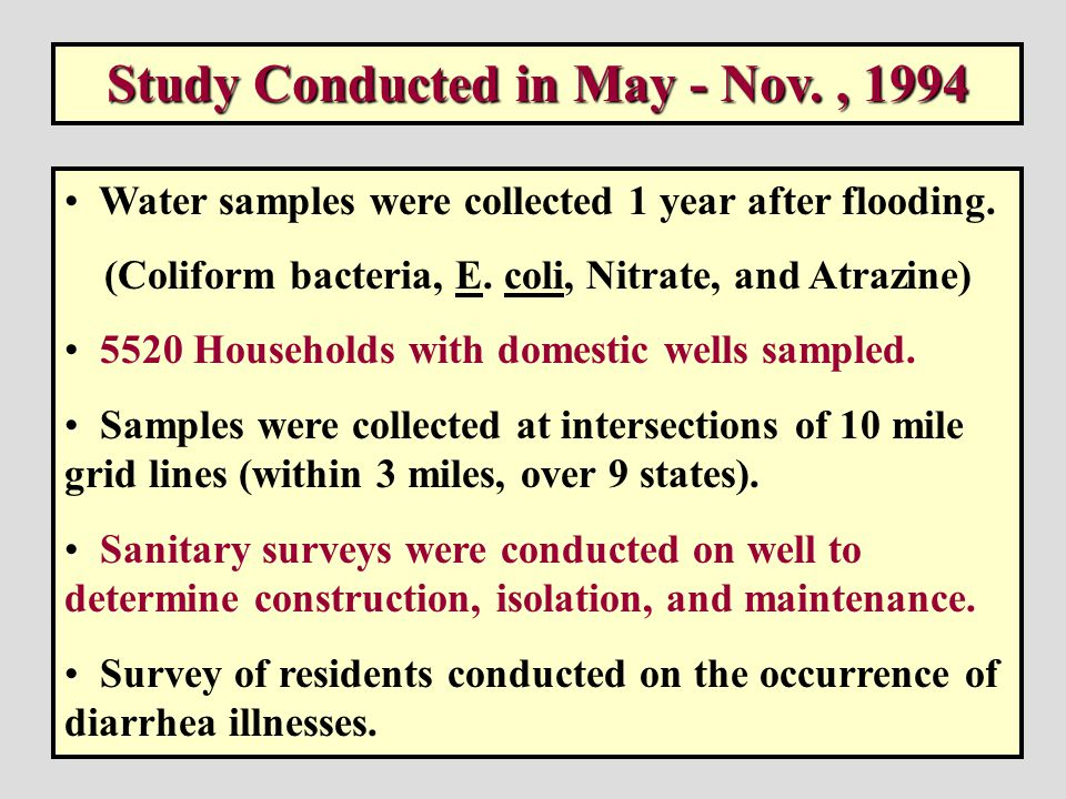 A Survey of the Quality of Water Drawn from Domestic Wells in Nine Midwest States Centers for Disease Control and Prevention National Center for Environmental Health September 1998