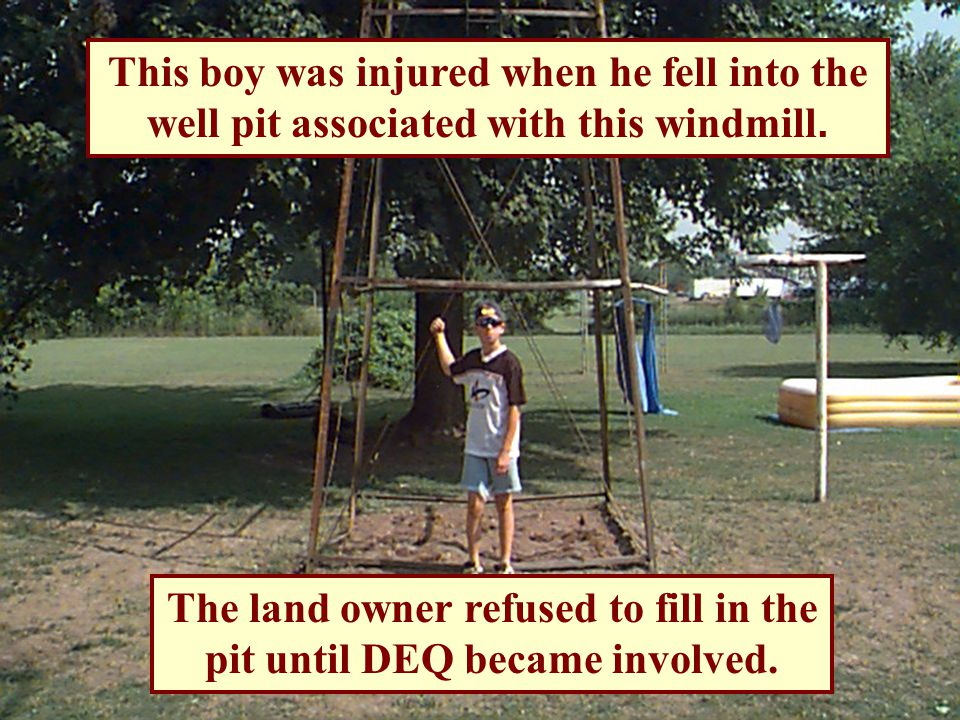 Genesee County Accident 13 year old boy falls into windmill well pit when deteriorated wooded cover collapses.