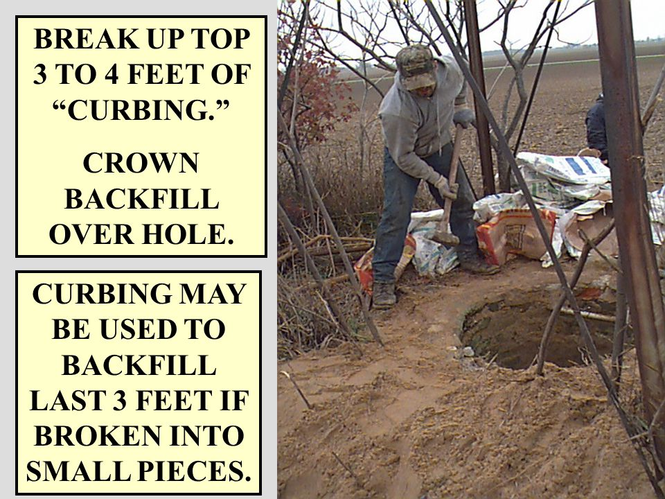 RULES R 325.1665 Rule 165. (b) DUG AND CROCK WELLS THE UPPER SECTION OF CROCK OR THE UPPER 3 FEET OF BRICK, CEMENT, OR STONE CURBING THAT SUPPORTS THE
