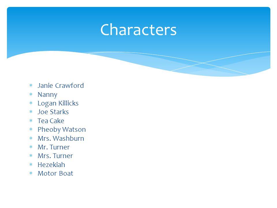  Janie Crawford  Nanny  Logan Killicks  Joe Starks  Tea Cake  Pheoby Watson  Mrs.