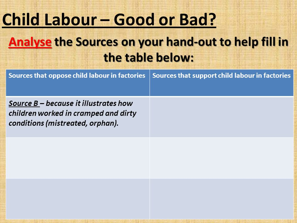Child Labour – Good or Bad? Analyse the Sources on your hand-out to help fill in the table below: Sources that oppose child labour in factoriesSources