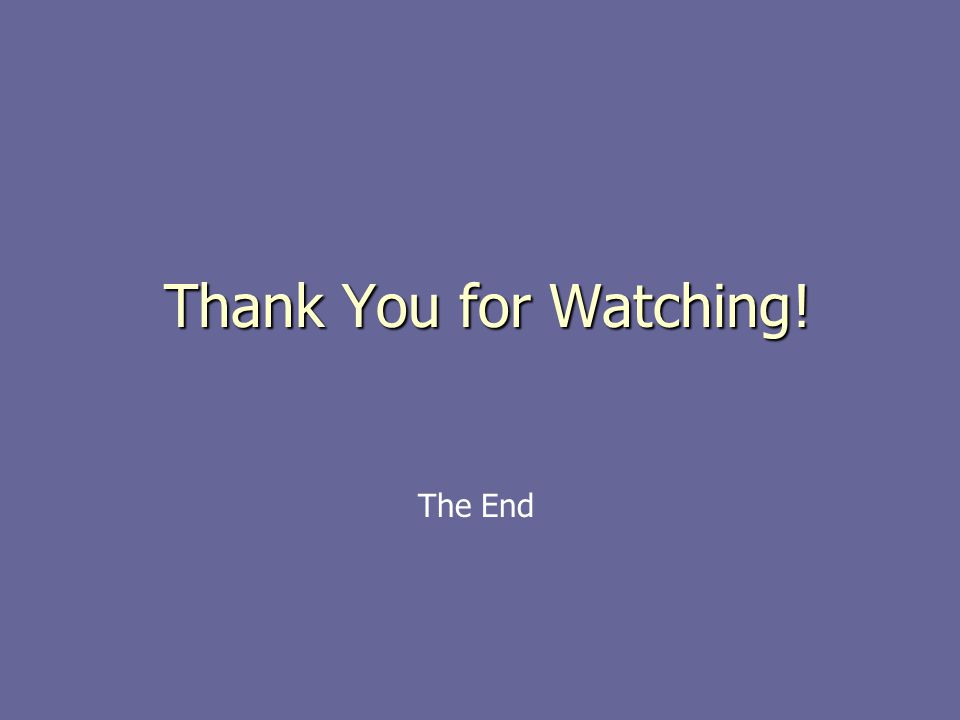 Thank You for Watching! The End