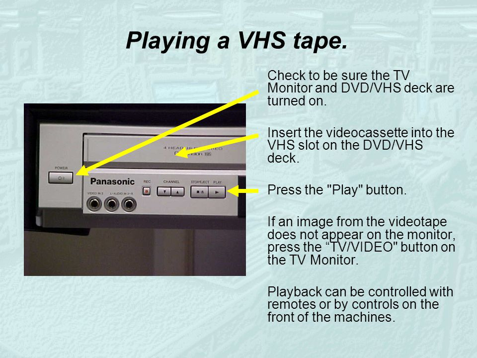 Playing a VHS tape. Check to be sure the TV Monitor and DVD/VHS deck are turned on. Insert the videocassette into the VHS slot on the DVD/VHS deck. Pr