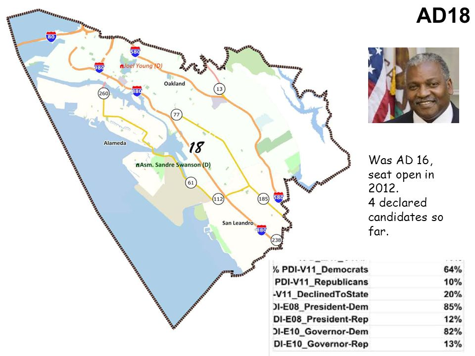 AD18 Was AD 16, seat open in 2012. 4 declared candidates so far.