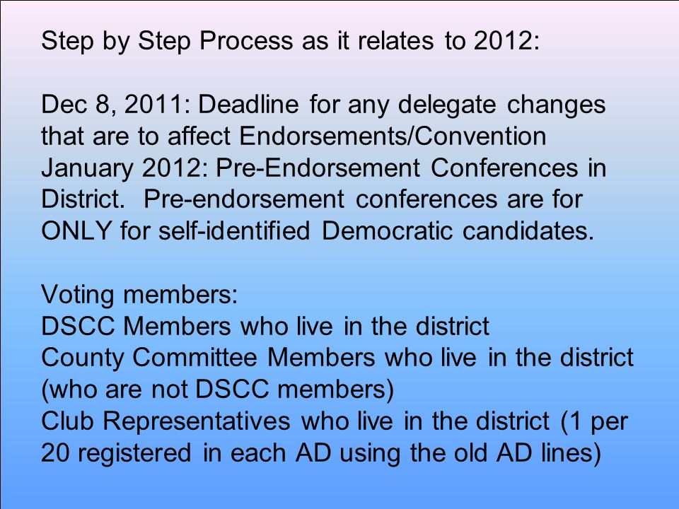 Step by Step Process as it relates to 2012: Dec 8, 2011: Deadline for any delegate changes that are to affect Endorsements/Convention January 2012: Pre-Endorsement Conferences in District.