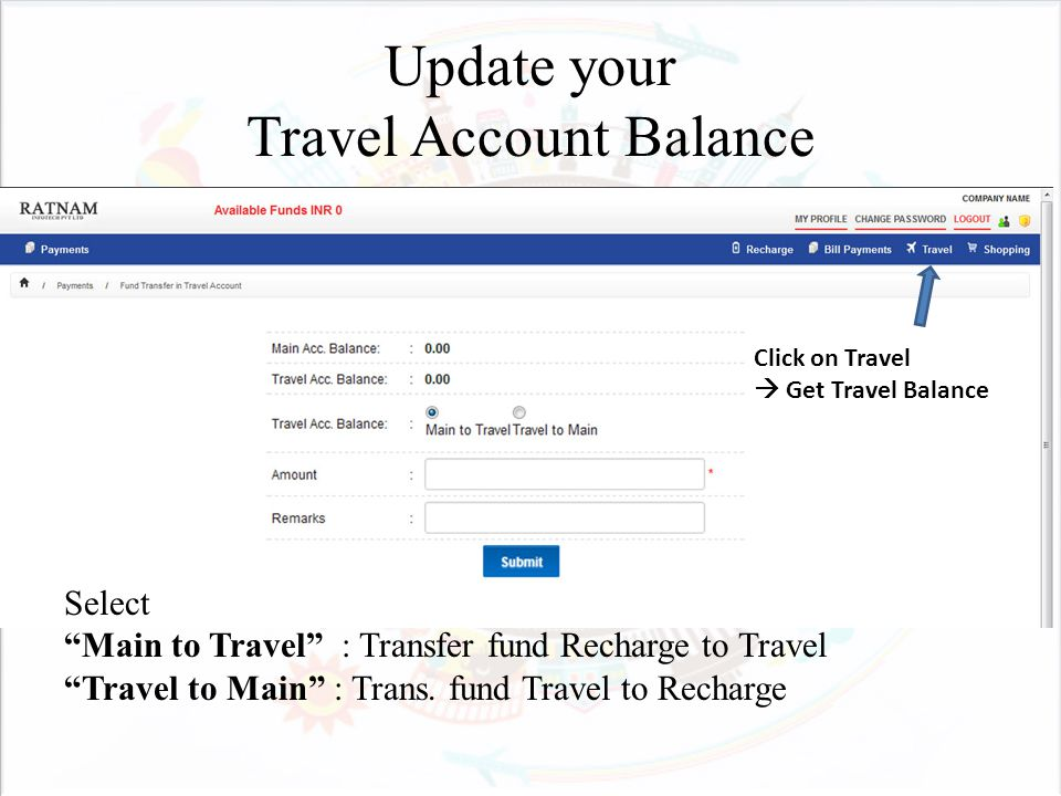 Update your Travel Account Balance Select Main to Travel : Transfer fund Recharge to Travel Travel to Main : Trans.