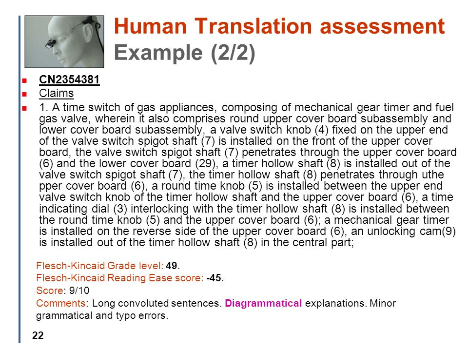 22 Human Translation assessment Example (2/2) CN2354381 Claims 1.
