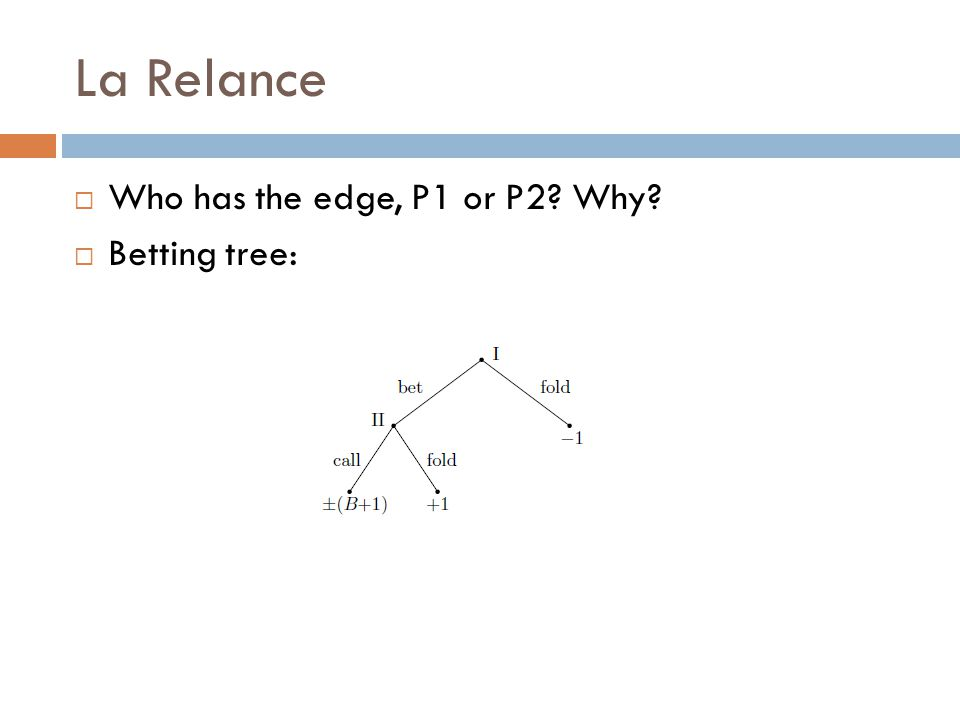 La Relance  Who has the edge, P1 or P2 Why  Betting tree: