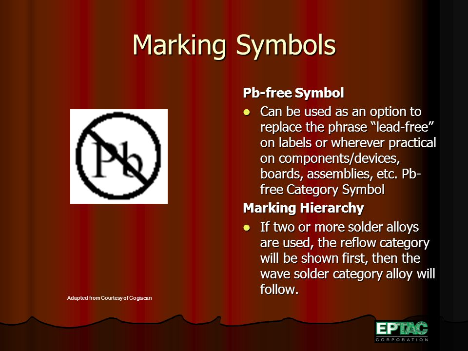 "Marking Symbols Pb-free Symbol Can be used as an option to replace the phrase ""lead-free"" on labels or wherever practical on components/devices, board"