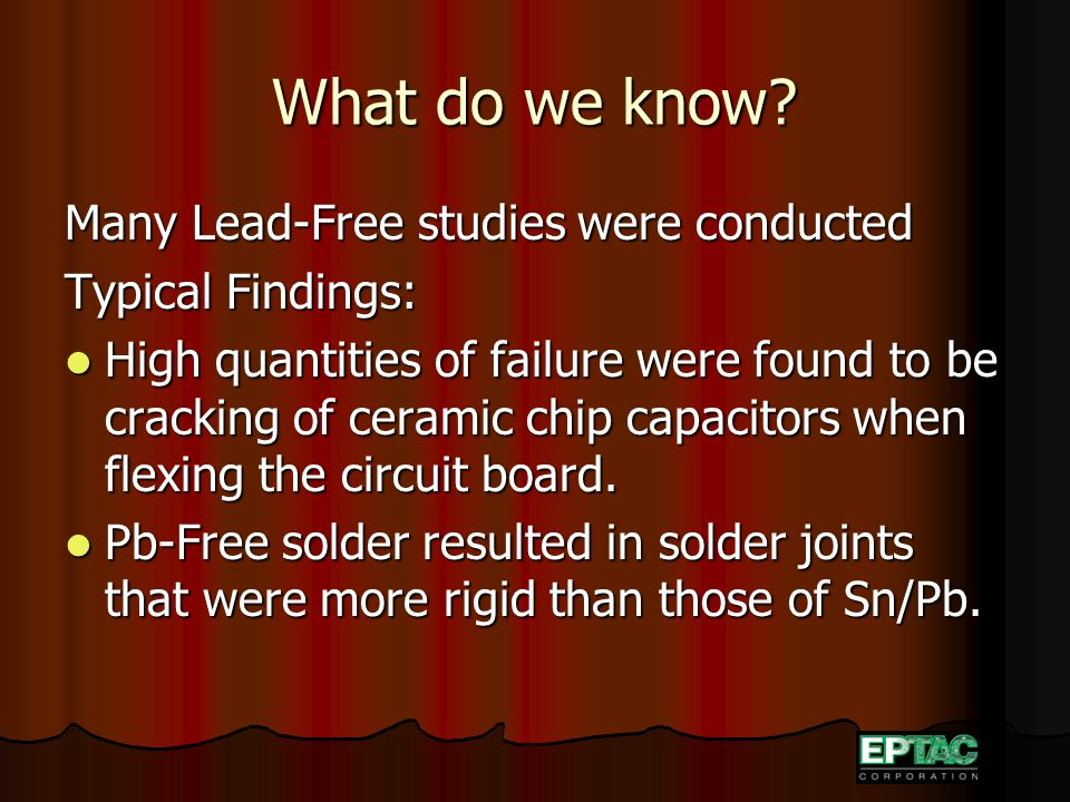 What do we know? Many Lead-Free studies were conducted Typical Findings: High quantities of failure were found to be cracking of ceramic chip capacito