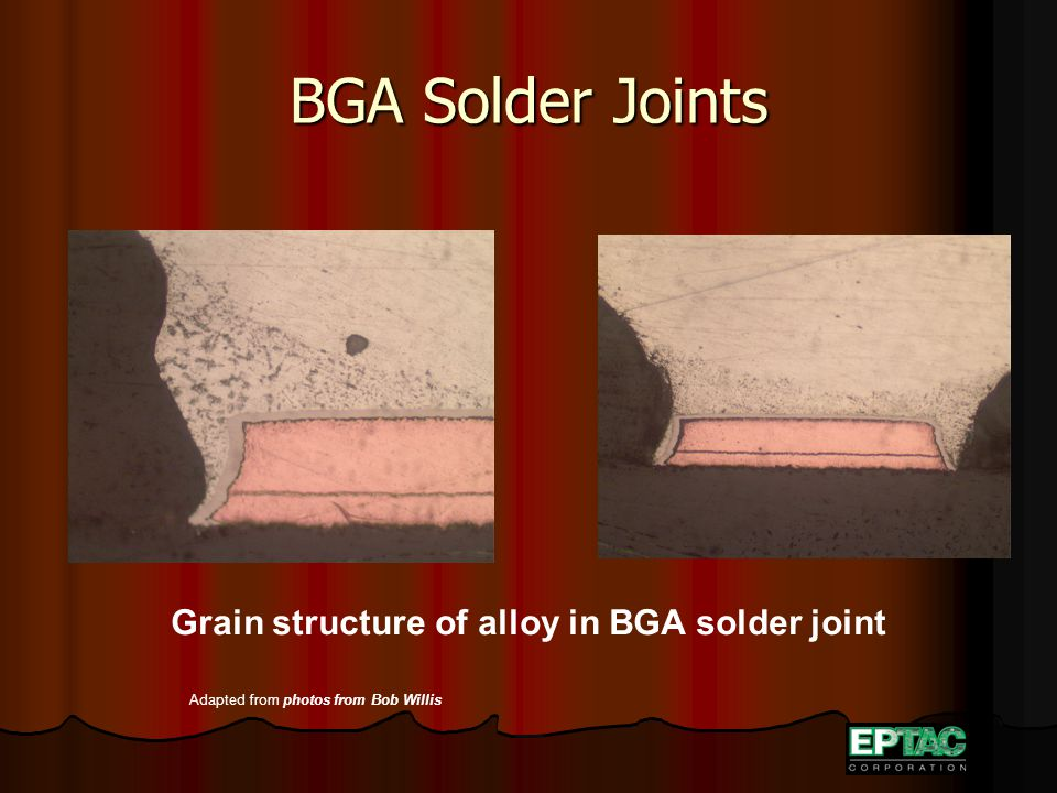 BGA Solder Joints Grain structure of alloy in BGA solder joint Adapted from photos from Bob Willis