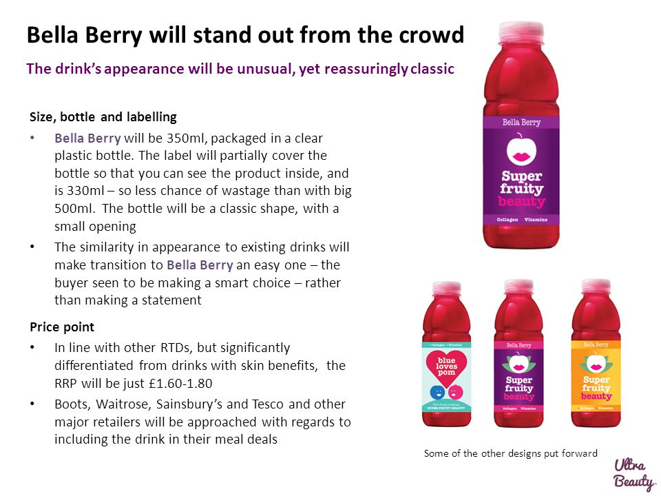 Size, bottle and labelling Bella Berry will be 350ml, packaged in a clear plastic bottle. The label will partially cover the bottle so that you can se