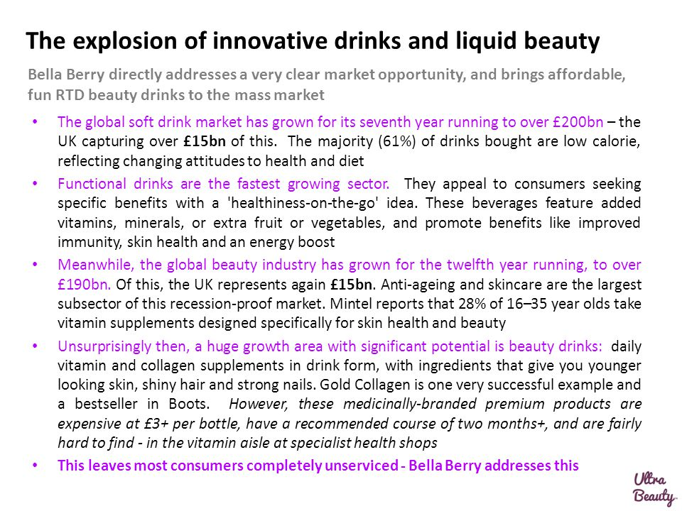 The explosion of innovative drinks and liquid beauty The global soft drink market has grown for its seventh year running to over £200bn – the UK captu