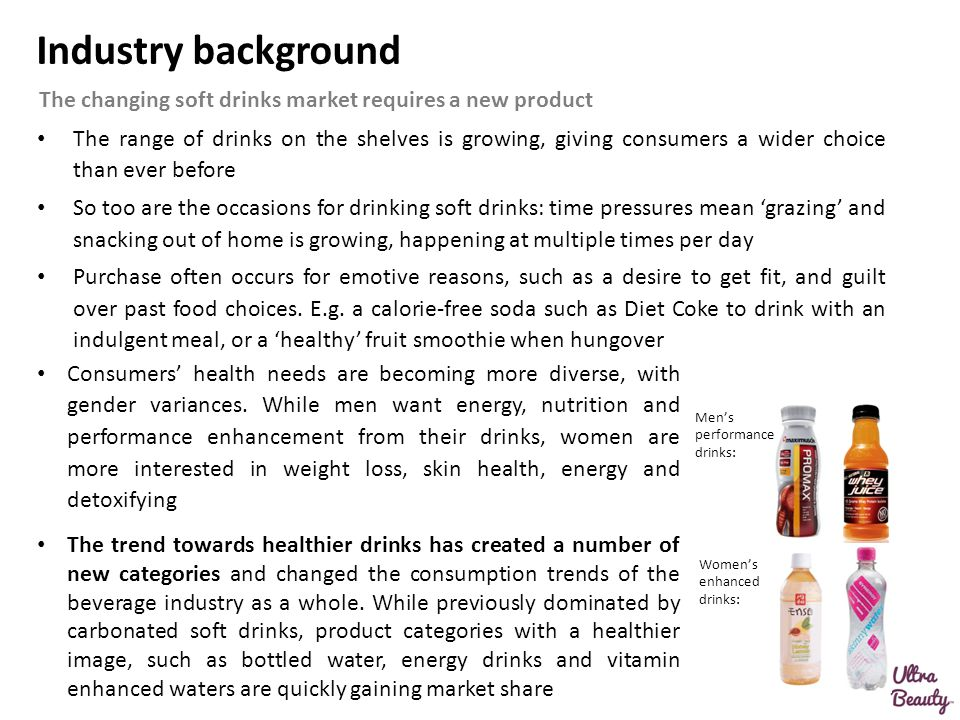 Industry background The range of drinks on the shelves is growing, giving consumers a wider choice than ever before So too are the occasions for drink