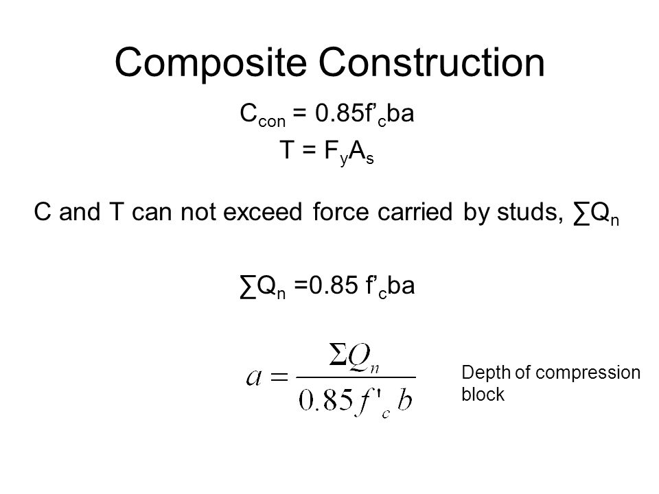 Composite Construction p.5-33 Y1 – Distance from PNA to beam top flange Y2 – Distance from concrete flange force to beam top flange b – effective width of concrete slab flange a – effective concrete flange thickness