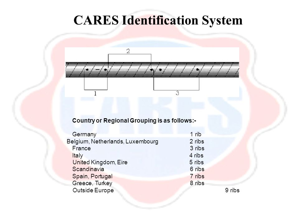 CARES Identification System Country or Regional Grouping is as follows:- Germany 1 rib Belgium, Netherlands, Luxembourg 2 ribs France 3 ribs Italy 4 r