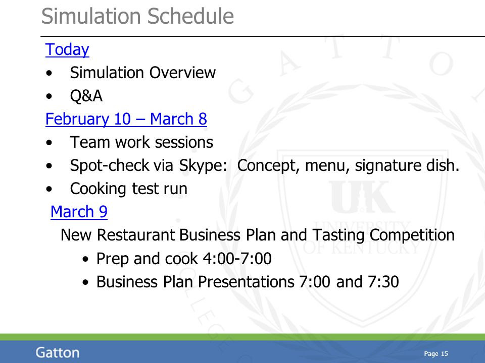 Simulation Schedule Today Simulation Overview Q&A February 10 – March 8 Team work sessions Spot-check via Skype: Concept, menu, signature dish.