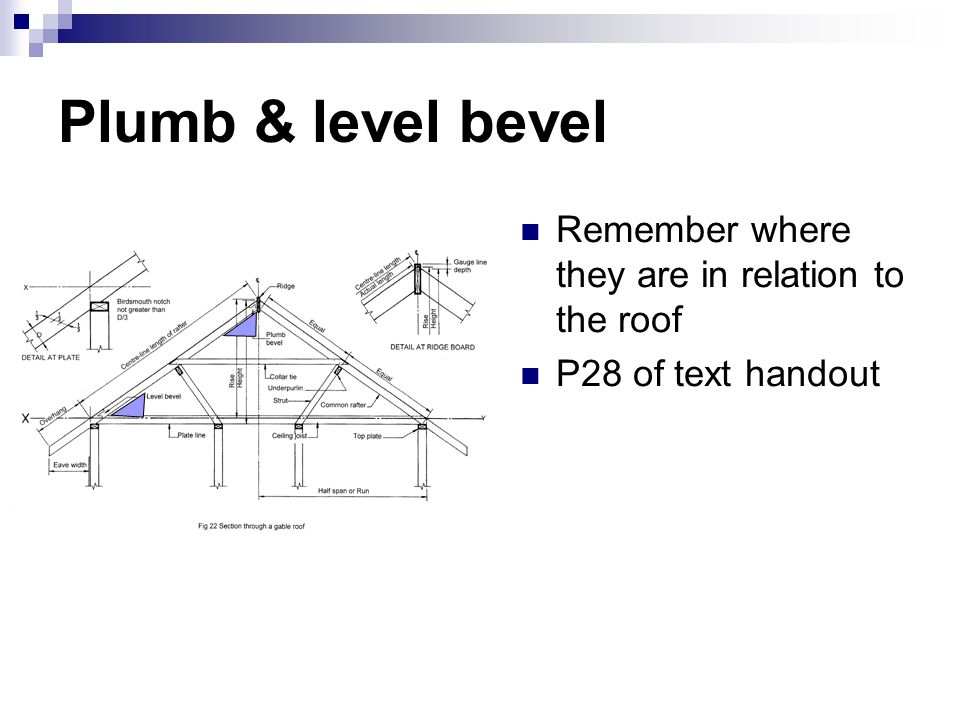 Plumb & level bevel Remember where they are in relation to the roof P28 of text handout